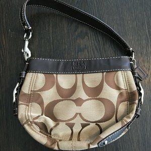 Coach Zoe Leather Trim Handbag Bag Purse Small Bag
